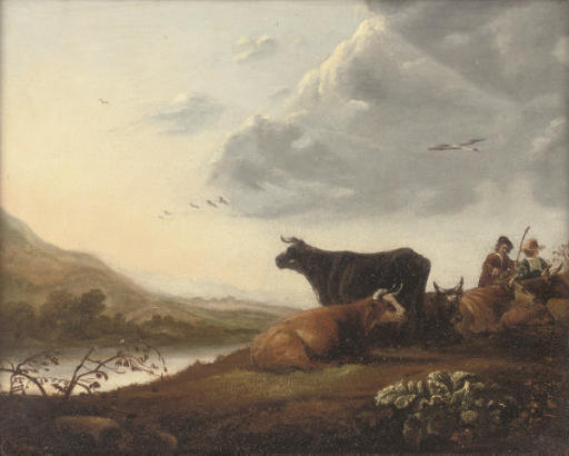 Cattle and drovers in a river landscape