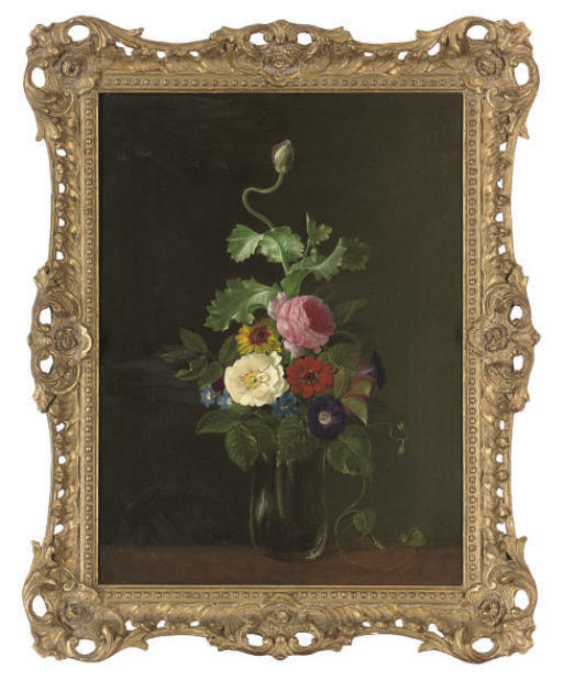 Roses, convolvulus, and morning glory in a glass vase, on a table