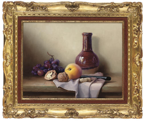 Grapes, a peach and walnuts, with an earthenware bottle to the side