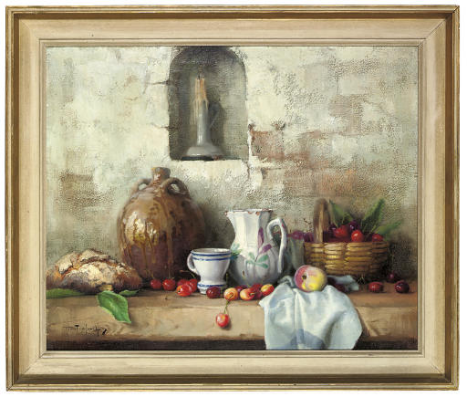 Bread, a wine flagon, cup, jug, cherries and an apple, on a wooden table with a candle in an alcove
