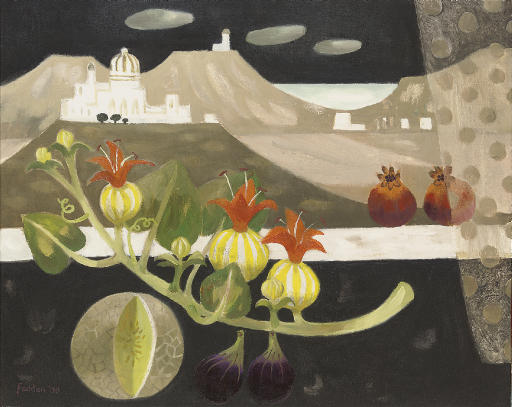 Still life with figs and melon