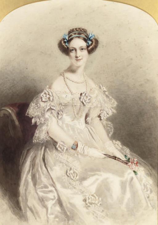 Portrait of a lady, three-quarter-length, dressed for a ball