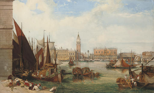 Bustling activity on the waterfront, Venice