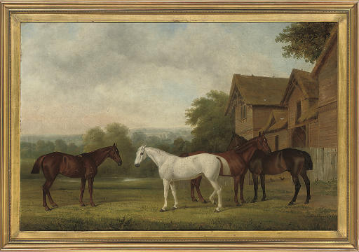Four hunters by a barn, an extensive landscape beyond