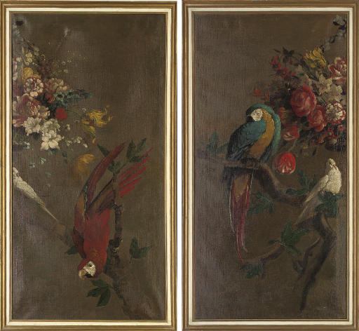 Scarlet macaw with a dove, on a branch; and Red and blue macaw, with a dove, on a branch