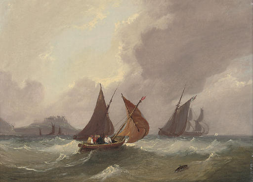 Fishing boats and other shipping in coastal waters below a fortified promontory (illustrated); and Shipping in a squall in the Channel