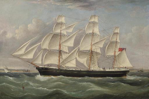 A British merchantman under full canvas in a stiff breeze