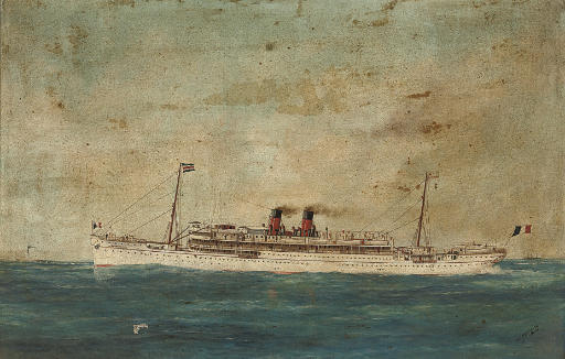 The French liner Guadeloupe at sea