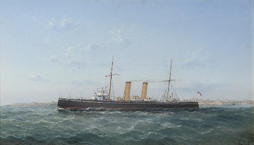 An armoured cruiser outward-bound from Valetta