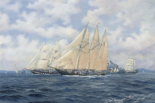 The sail training ships Sir Winston Churchill, Royalist and Lord Nelson in the Solent