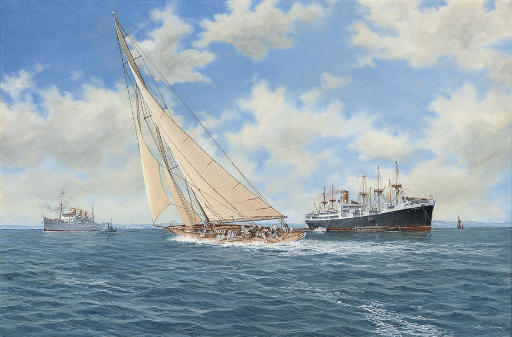Britannia racing to leeward of the P. & O. liner Strathaird and the Federal Steam Navigation Company's Rotorua
