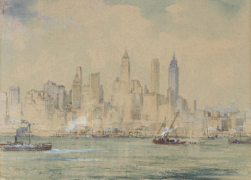 Steamers on the East River, New York