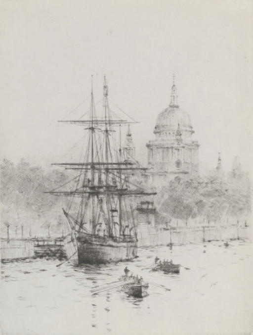 Scott's Discovery moored on the embankment (illustrated); and The Pool of London