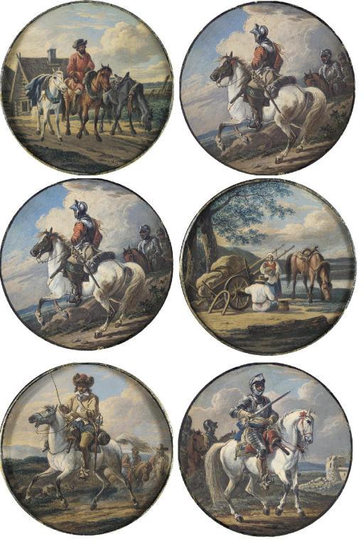 Six roundels depicting horsemen