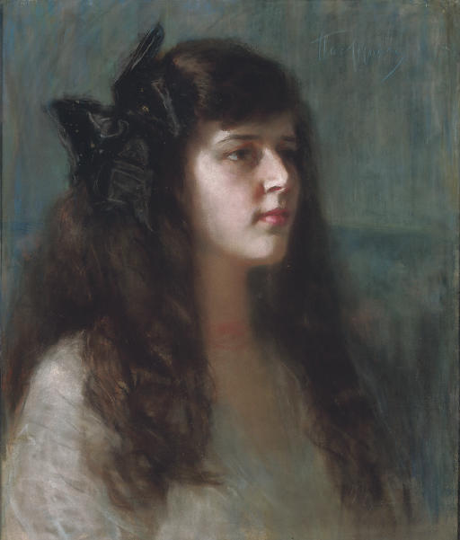 Portrait of a girl with a black bow
