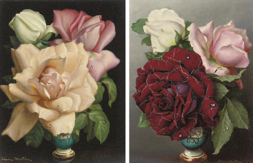 Roses in a vase; and Another similar