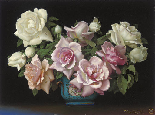 Mixed roses in a porcelain jardinière
