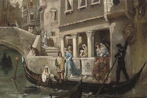 Dignitaries boarding a gondola on a Venetian backwater