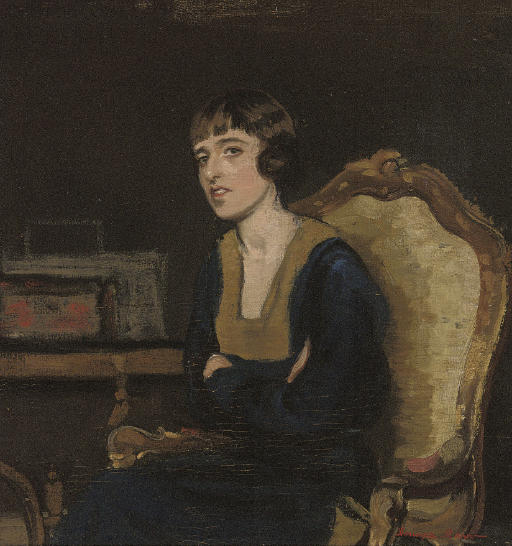Portrait of the artist's sister, seated half-length, in a black dress