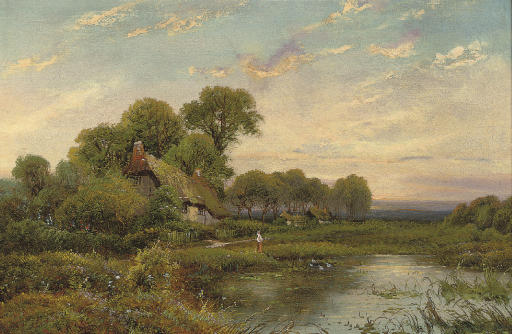 A young girl on a country path before a cottage; and A figure before a pool, a cottage beyond
