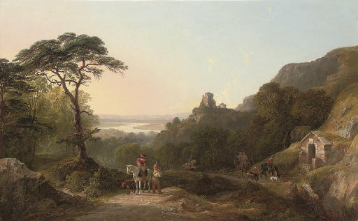 A hunting party in an extensive landscape