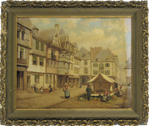 The market place at Lannion, Brittany