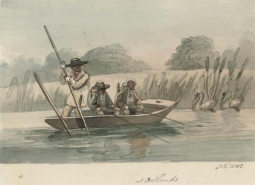 Fishermen in a punt at Oatlands