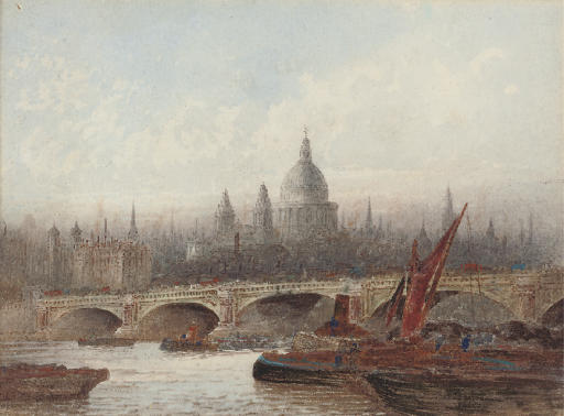 The Thames at Blackfriars Bridge, St. Paul's Cathedral beyond