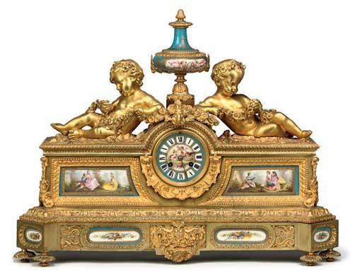 A Napoleon III large ormolu and porcelain-mounted eight day striking mantel clock