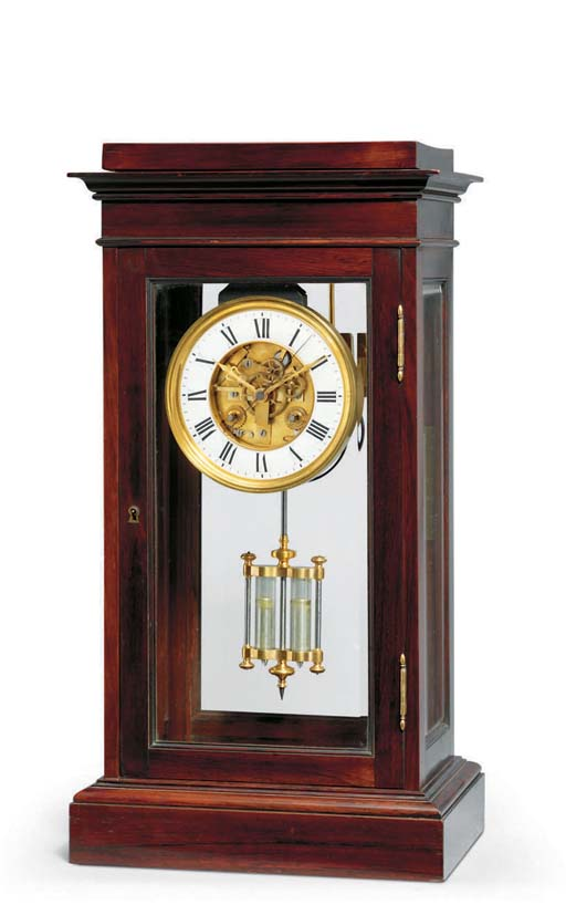 A Louis Philippe rosewood striking eight day mantel regulator with rare form of seconds beating escapement