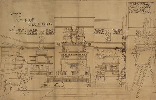 E. W. GODWIN; OUTLINE OF INTERIOR DECORATION RARE DRAWING