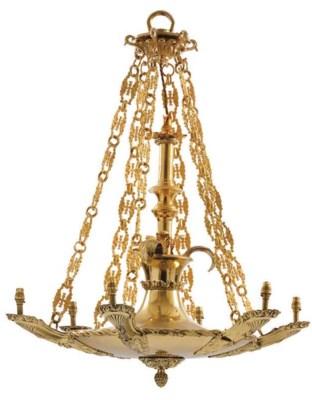 A brass six light chandelier