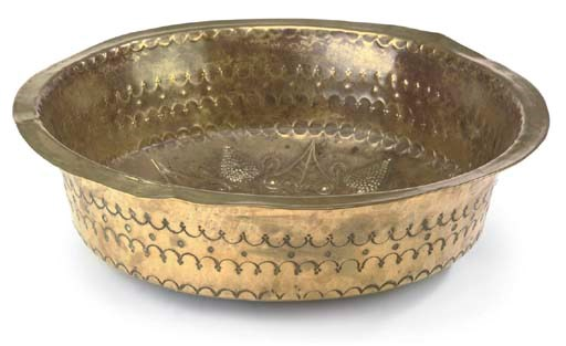 A CONTINENTAL BRASS BOWL