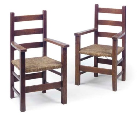 A PAIR OF OAK CHILDS' CHAIRS