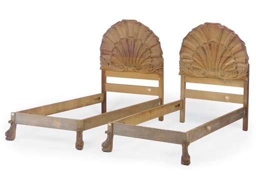 A PAIR OF PINE SINGLE BEDS