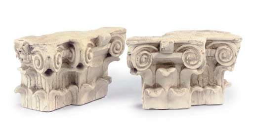 A PAIR OF FRAGMENTARY CARVED L