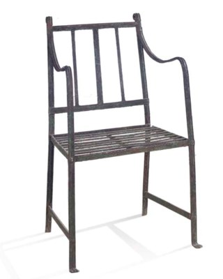 A WROUGHT IRON CHAIR