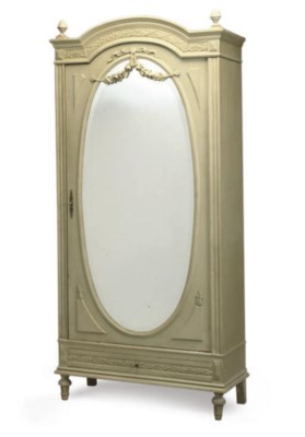 A FRENCH PALE GREEN DECORATED