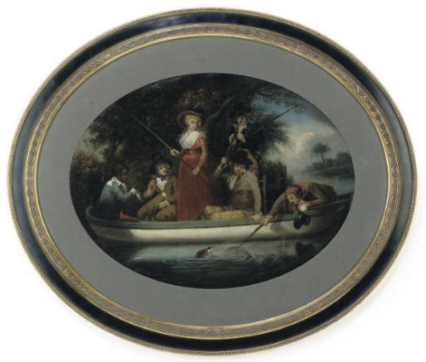 A TOLE-PEINTE TRAY PAINTED WIT