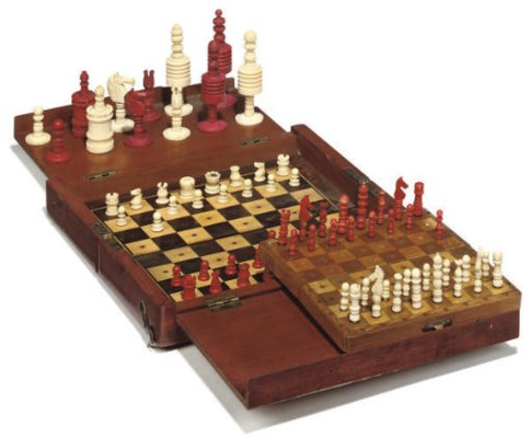 TWO ENGLISH BONE TRAVEL CHESS