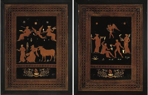 A PAIR OF GEORGE III BLACK, OCHRE AND WHITE-PAINTED PICTURES