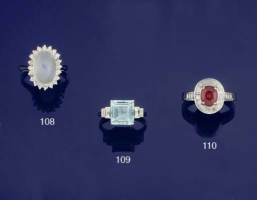 A moonstone and diamond cluste