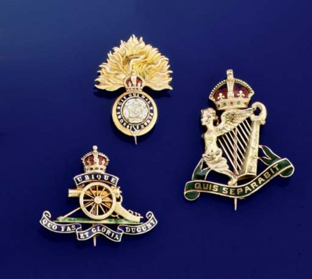 Three enamelled regimental bad