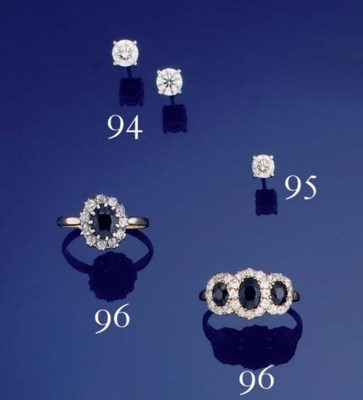 TWO SAPPHIRE AND DIAMOND CLUST