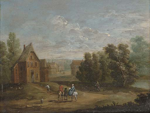A wooded river landscape with figures on horseback by a village; and A wooded river landscape with anglers on a river bank