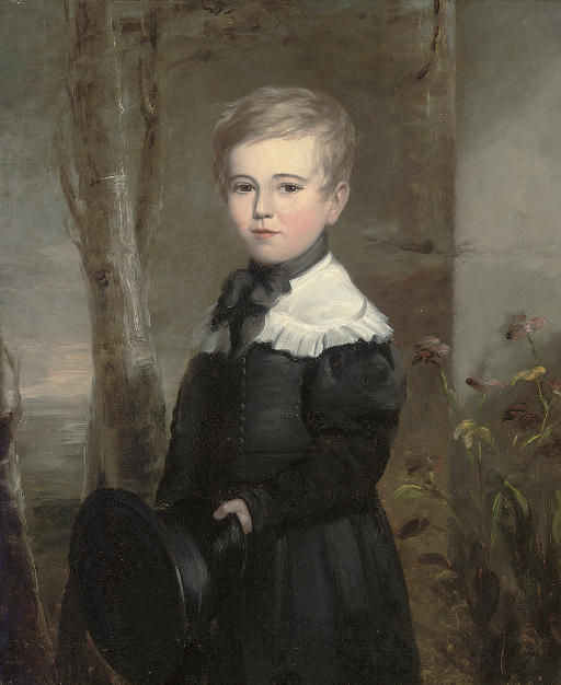 Portrait of a young boy, three-quarter-length, in school uniform, holding a black hat in his left hand, in a landscape
