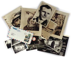 a collection of photographs and a first day cover of the Apo