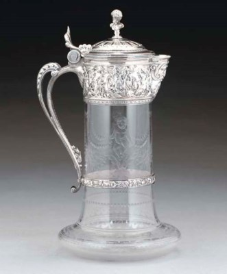 A VICTORIAN CUT-GLASS CLARET J