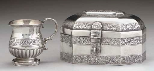 AN INDIAN METALWARE CASKET,