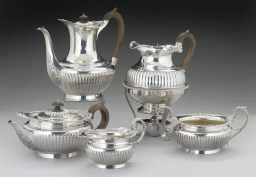 A LATE VICTORIAN SILVER CAPE PATTERN TEA & COFFEE SERVICE,